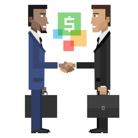 dandose la mano: Empresarios estrecharme la mano