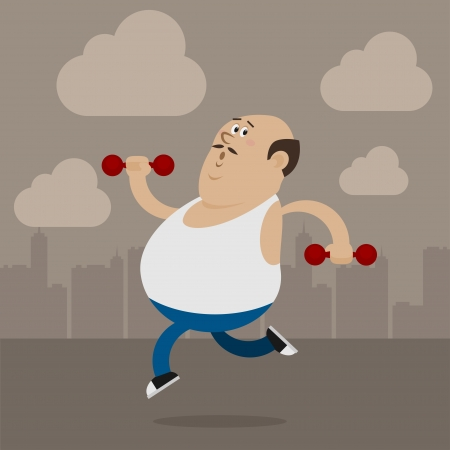 belly fat: Fat man goes in for sports Illustration