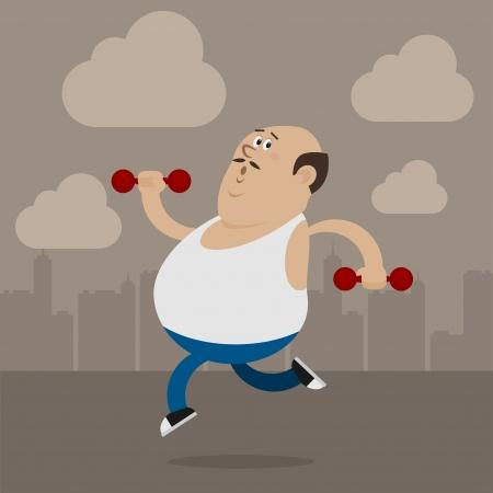 bald man: Hombre gordo va en los deportes