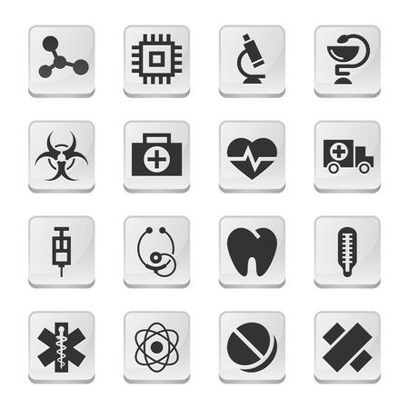 a snake in a bag: Rectangular medical icons Illustration