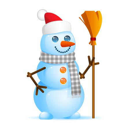 Snowman holding broom Vector