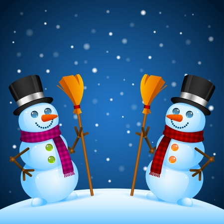 Two snowmen stand with broom Vector