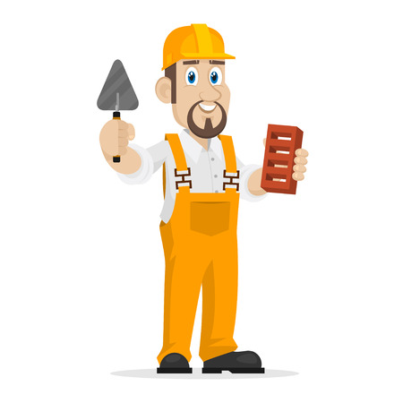 Builder holds brick and trowel