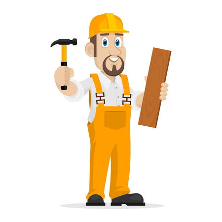 Builder holds hammer and wooden board