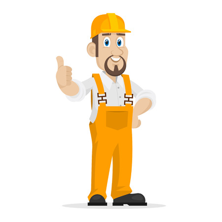 Builder shows thumbs up Vector