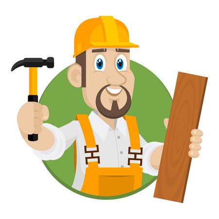 Emblem carpenter in circle Vector