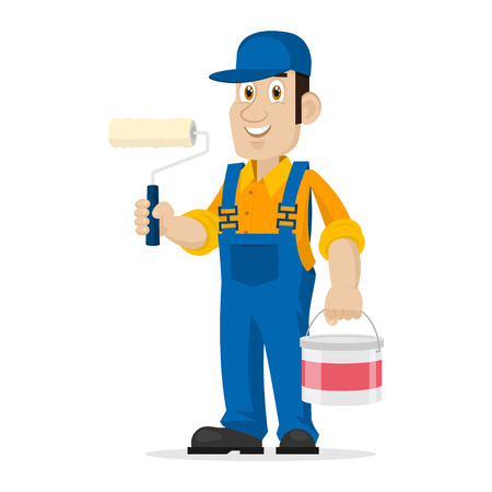 Painter holds roller and bucket