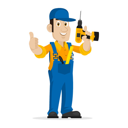 career up: Repairman holds screw gun