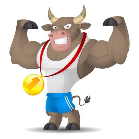 strong bull: Bull athlete shows muscles Illustration