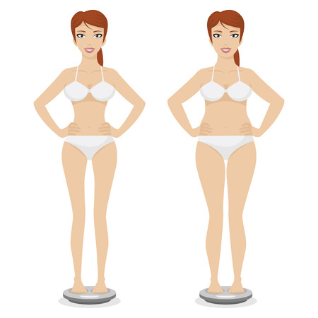 Girl full and thin Vector