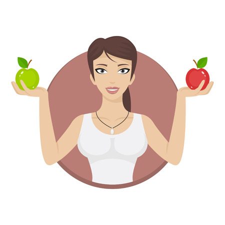 Girl in circle holds apples Vector