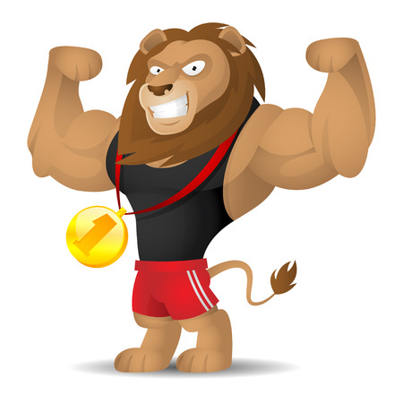 athlete cartoon: Lion athlete shows muscles Illustration