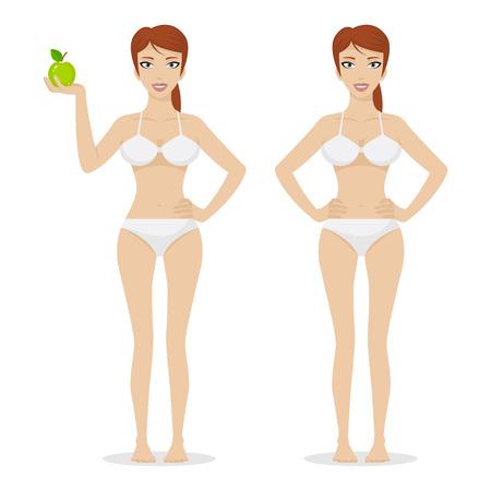 abdomen plano: Muchacha delgada sostiene la manzana