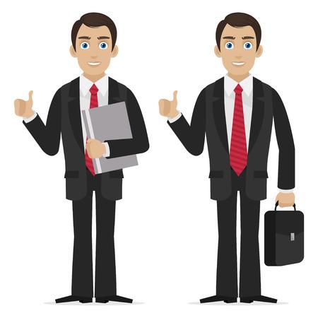 Businessman holds finger up