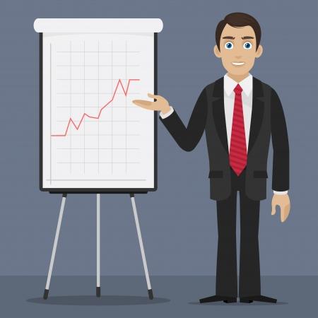 flipchart: Businessman specifies on flipchart