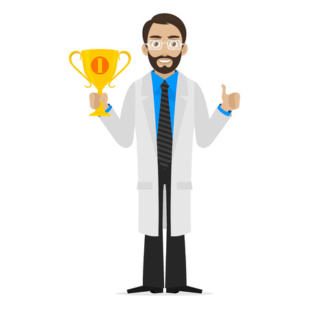 lab coat: Scientist holds cup first place