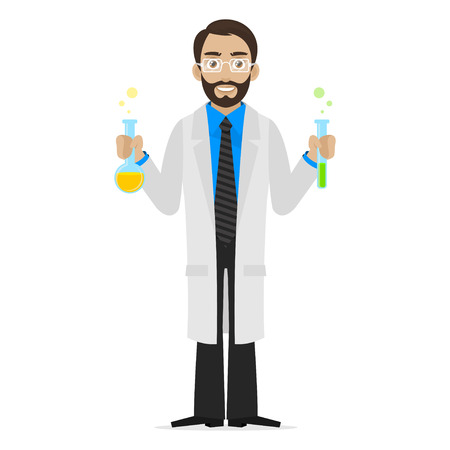 科学者は試験管で化学物質を保持します。