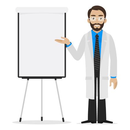 Scientist specifies on flipchart Illustration