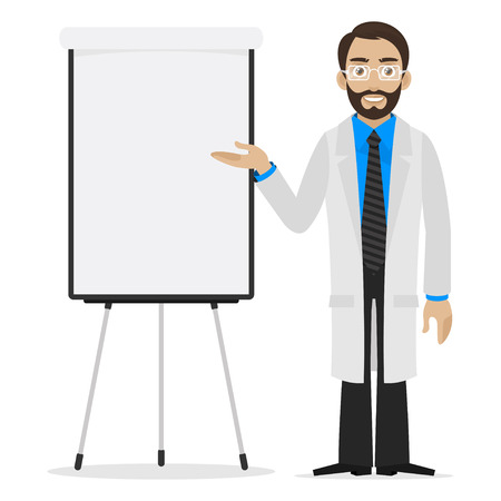 specifies: Scientist specifies on flipchart Illustration