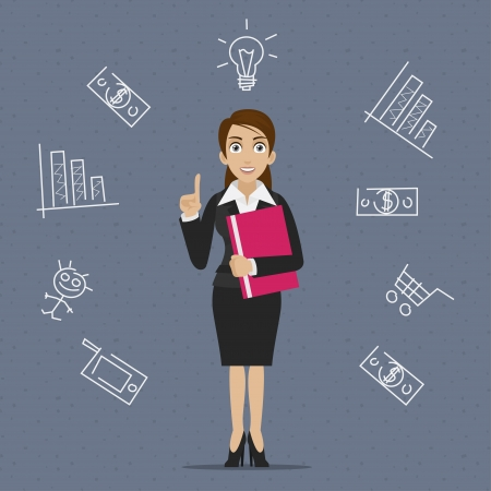 Businesswoman business idea Vector