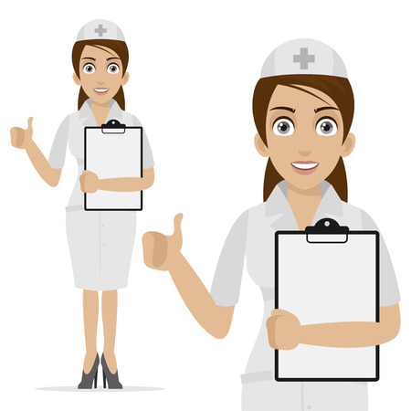 Nurse holds form and shows thumb up Vector