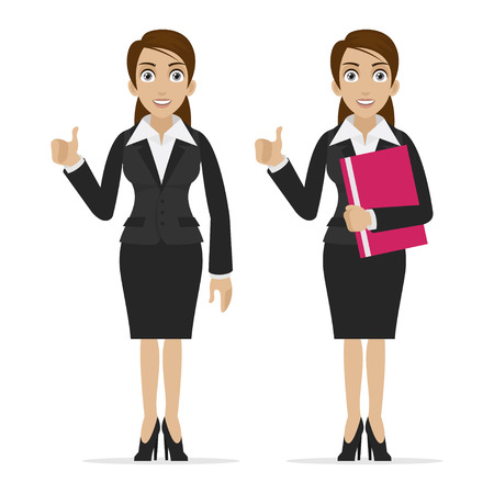 Business woman holds finger up Stock Vector - 24240852