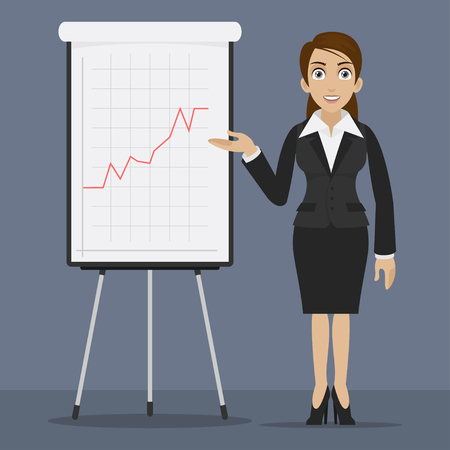 specifies: Businesswoman specifies on flipchart Illustration