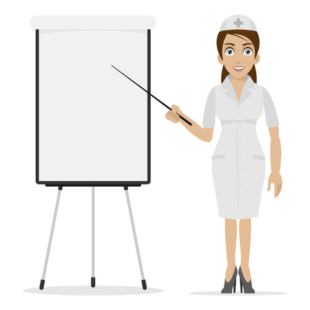 specifies: Nurse specifies on flipchart