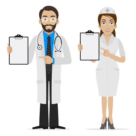 Doctor and nurse specifies on form Illustration