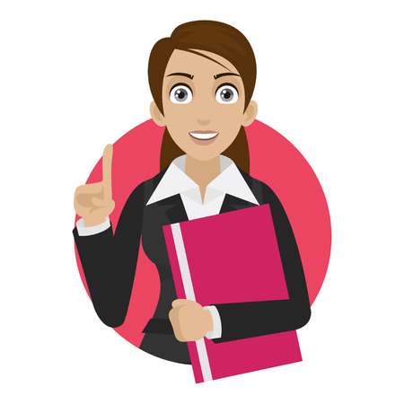 Businesswoman keeps file in circle Vector