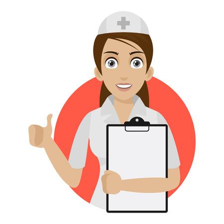看護師はサークルに空白保持します。  イラスト・ベクター素材