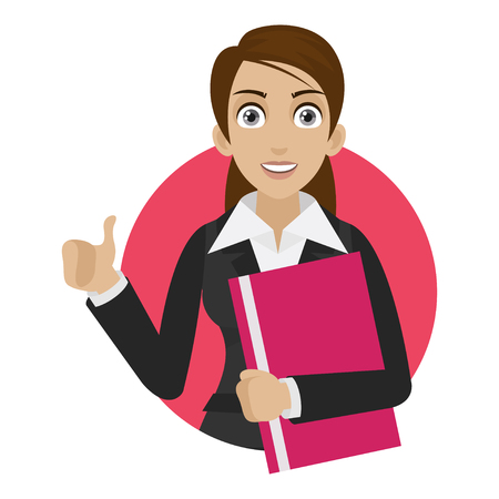 Businesswoman shows thumb up in circle Stock Vector - 24503597