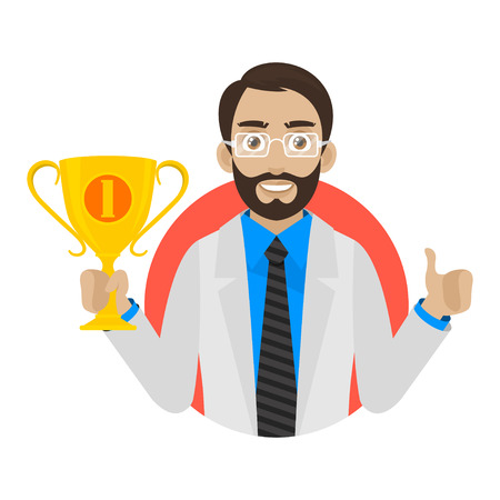Doctor keeps cup in circle Vector