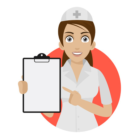 medical report: Nurse points to form in circle