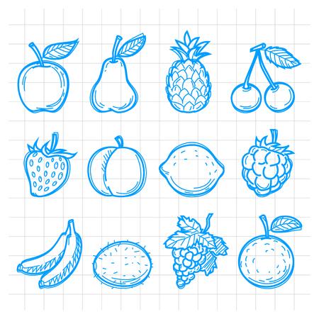banana sheet: Doodle drawn fruits Illustration