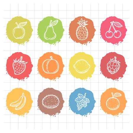 banana sheet: Doodle drawn icons fruits Illustration