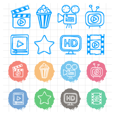 Icons set cinema doodles Vector