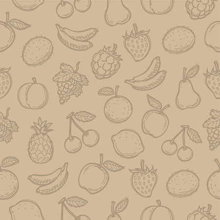 Pattern doodle drawn fruits Vector
