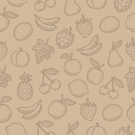 banana sheet: Pattern doodle drawn fruits