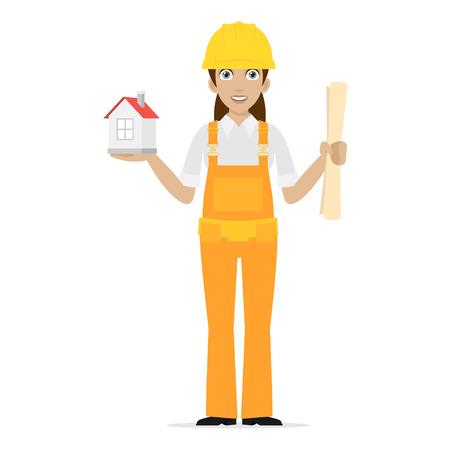 keeps: Builder woman keeps house Illustration
