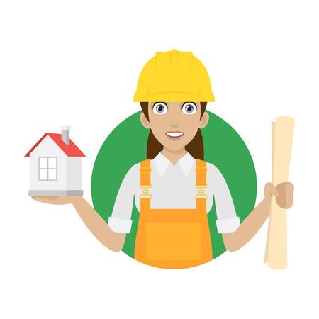 Bouwer vrouw houdt huis en plan Stock Illustratie