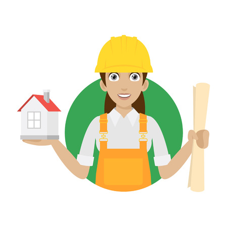 Builder woman keeps house and plan Vector