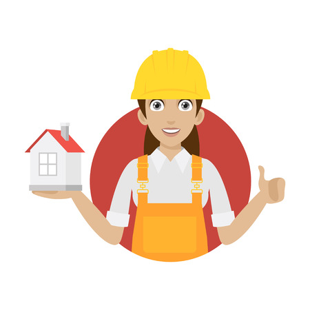 building inspector: Builder woman keeps house in circle Illustration
