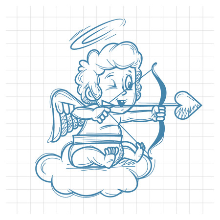 Sketch cupid shoots of bow Stock Vector - 24912584