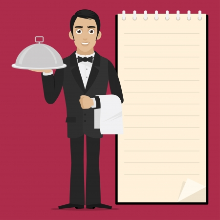Waiter holds tray in hand Vector