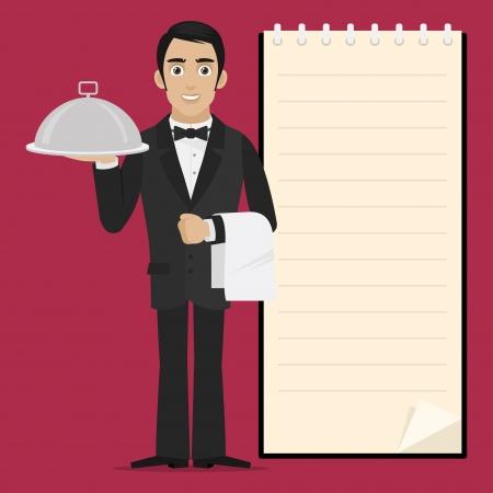waiter: Waiter holds tray in hand Illustration