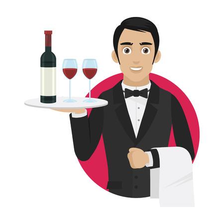 trays: Kelner houdt dienblad met wijn en glazen Stock Illustratie