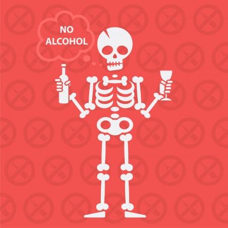 calavera caricatura: Concepto sobre el tema sin alcohol Vectores