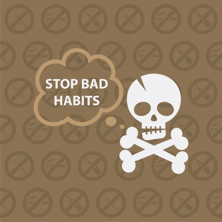Concept on theme stop bad habits Vector
