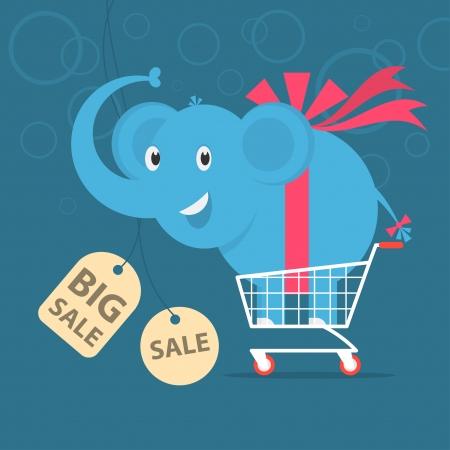 Elephant stands on shopping cart  Illustration
